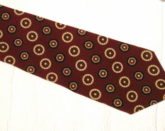 Vintage Lanvin Men's Necktie - 100% Silk - Circles on Maroon