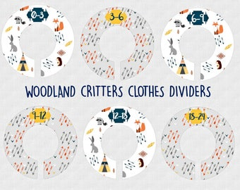 Woodland Critters Nursery Closet Dividers, Navy Orange Yellow Gray, Baby Clothes Dividers, Plastic Clothes Organizer, Toddler Sizes