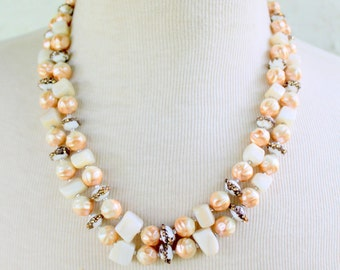 Multi Strand Statement Necklace Beaded Vintage