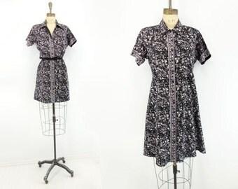 Indian Cotton Dress 70s Ethnic Dress Navy Blue Sari Dress Mod Mini Shirt Dress Blue Floral Dress Navy Blue Dress Batik Print Dress s to m