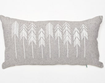 White and Grey, Tree, Arrow Pattern, Pacific Northwest Inspired Throw Cushion Housewarming Present Modern Accent Pillow, Wedding Present