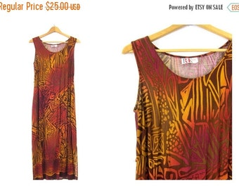90s dress Long slip dress BOHO vintage Abstract Print sundress womens Bohemian Chic Gold Purple Brown revival dress Small Medium
