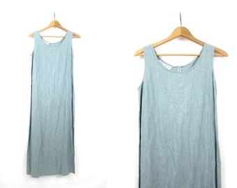 LINEN & RAYON Dress Minimal Dress Vintage 90s Natural Basic Simple Look Light Blue Sun Dress Maxi Dress with Side Slips Womens 8