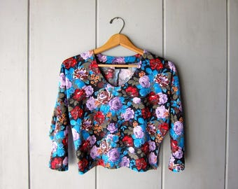 Floral 80s Top Crop Floral Shirt Colorful Dolman Sleeve Tee Cropped Tshirt Long Sleeve Top Boho Revival Vintage Womens Small Medium