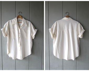 Oversized 80s White Blouse Soft Cotton Button Down Collared Shirt VENEZIA Minimal Slouchy Shirt Billowy Boho Tunic Top DES Womens XL