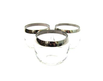 Vintage set of 3 Roly Poly Tumblers glasses Silver Band rim Cocktail Party cups Retro silver Drinking glasses 1960s Bar Ware barware