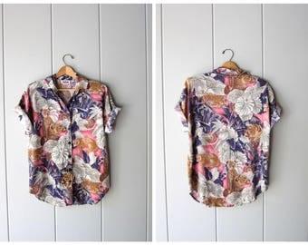 Vintage 80s Animal Print Shirt Button Up Safari Jungle Tshirt Short Sleeve Rayon Tee 90w Resort LIONS CHEETAH Shirt Womens Medium