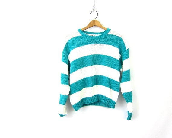 90s turquoise green striped Slouchy sweater preppy Cropped knit White Stripes Cotton top Preppy Prep Womens size Large