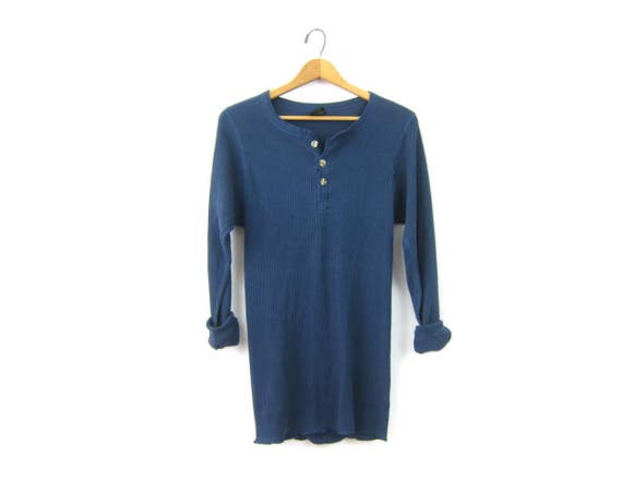 Thin vintage Dark Blue long underwear top minimal look button front Thermal layering  shirt basic Rugged henley COED shirt Medium