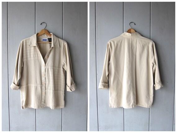 Button Up Cotton Blouse 90s Minimal Natural Beige Blouse Slouchy Button Up Textured Cotton Jacket Top DES Vintage Women's Medium