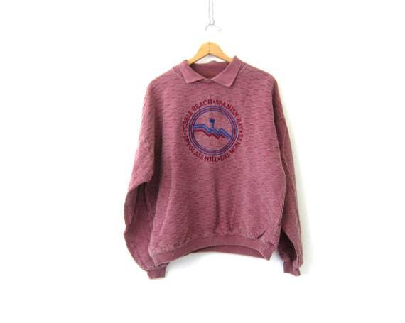 Oversized Cotton Sweatshirt Pebble Beach Spanish Bay Slouchy Purple Pigment Dyed Vintage 90s Sweatshirt Thermal Pullover Size 2X