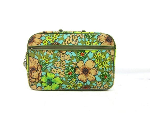 vintage 1960s mod floral canvas suitcase Blooming Flower Print Pattern Green Tan Fall Colors fabric tote Small Vacation Resort Travel Bag