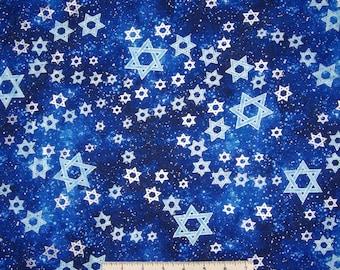 Hanukkah Fabric - Metallic Star of David on Dark Blue - Benartex Kanvas YARD