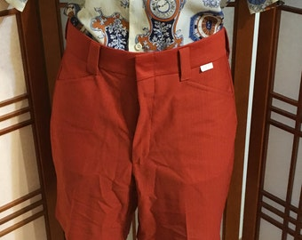"Vtg 70s orange rust polyester shorts by ""Farah"" mens size 36 waist"