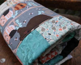 Woodland Owl Patchwork quilt Honey Bears in the Trees cotton quilt Nursery quilt Woodland quilt lap quilt