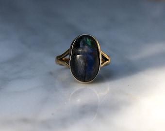 ANTIQUE LABRADORITE SCARAB Art Deco era antique vintage 9K gold beetle Egyptian revival ring size 4.25 circa 1920s