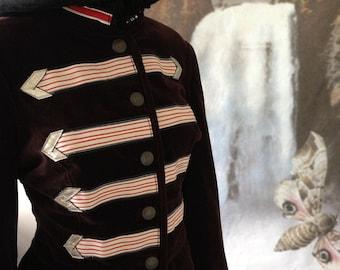 Steampunk Jacket bustle festival sgt pepper clothing boho band brown  velvet  military style size 38 chest