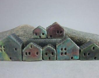 Lucky Seven...Rustic Miniature Raku Houses for Moss Terrariums or Pot Gardens