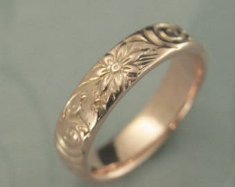 Rose Gold Wedding Band--Floral Wedding Ring--Women's Wedding Ring--Rose Gold Band--Rose Gold Ring--Antique Style Ring--Vintage Style Band