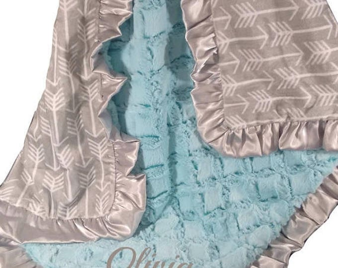 Photoprop CLEARANCE Saltwater Pool Green and Silver Gray Arrow Minky Baby Blanket