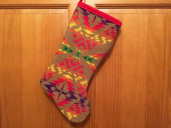 Christmas Stocking XL Wool Bright Khaki Horizontal Southwestern Tribal Handcrafted Using Fabric from Pendleton Woolen Mill