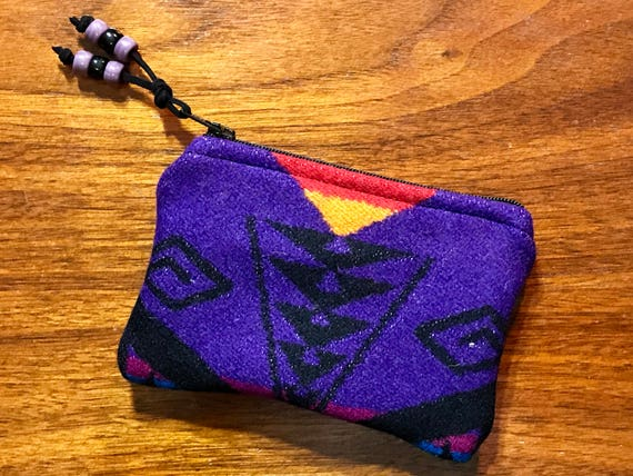 Wool Coin Purse / Phone Cord / Gift Card Holder / Zippered Pouch Purple &Black Great Star