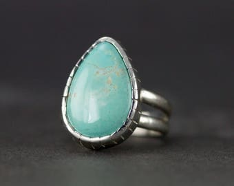 Royston Turquoise Ring - Sterling Turquoise Ring - Size 8