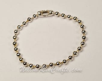 25 Strands Silver Plated Ball Chain Keychains 3.2mm.