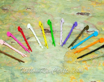 50 Pack 8mm glue pad Colored Bobby Pins