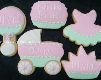 Ballerina Princess Baby Shower Cookies - 15 Cookies