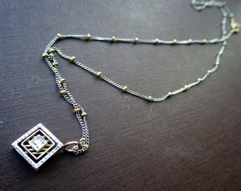 Stunning Gold Diamond Necklace - Two Tone - Deco Style - 14K Gold Chain.