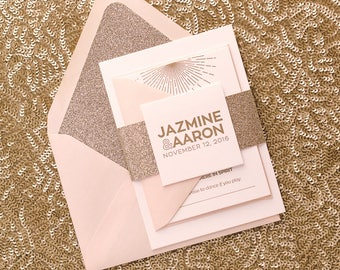 Letterpress - Blush and Gold Glitter Wedding Invitations - SAMPLE (DARBIE)