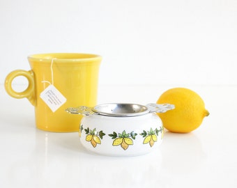 Porcelain & Metal Tea Bag Holder / Retro Lemons Two Piece Tea Bag Strainer / Vintage Tea Bag Holder