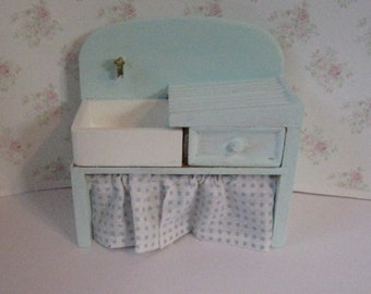 Dollhouse Kitchen sink,pale blue sink, mini sink,   country sink, stone sink ,kitachen sink twelfth scale, dollhouse miniature