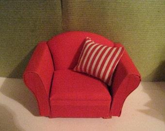 Dollhouse chair, living room chair,, mini   chair, Red chair, Living room, sitting room, twelfth scale, dollhouse miniature