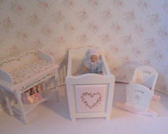 Dollhouse Nursery set, Small  Nursery,  Rocking Cradle, Cot, ,  changing table, Pink, White, twelfth scale, dollhouse miniature