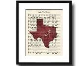 Texas Aggie's War Hymn Sheet Music Art Print Featuring Mascot Reveille, Texas A & M Art Print, Aggie Hullabaloo Fight Song Art