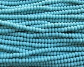 6/0 Matte Opaque Turquoise Czech Glass Seed Bead Strand (CW115) SE