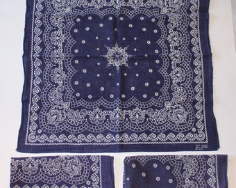 Vintage Matching Set of 3 Blue Bandanas, Handkerchirf Size