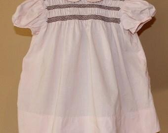 Vintage Pink Cotton Toddler Girl Dress, Size 2 - 3,  Smocked Bodice