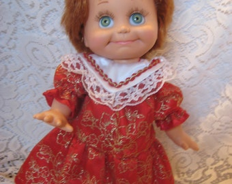 Pretty Red and Gold Dress that fits Baby face & Shasha Dolls