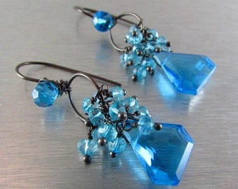 Turquoise Blue Quartz Wire Wrapped Oxidized Silver Earrings