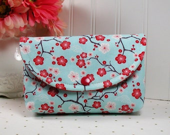 Snap Pouch / Large Snap Pouch / Cosmetic Pouch ... Cherry Blossom in Aqua