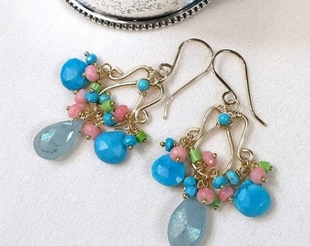 30% SALE Aquamarine Earrings Gold Chandelier Earring Wire Wrap Mystic Aquamarine Coral Turquoise 14kt Gold Fill Colorful Handmade Chandelier