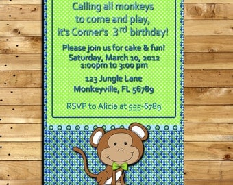 Custom Made -  Birthday  Invitation - Blue and Green Monkey - 4 x 6 print - Digital Delivery