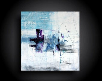Large Abstract Painting Modern Canvas Wall Art Minimalist Artwork 24 x 24 Interior Design Original Painting Blue Purple White
