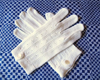 Pure Cotton Knit Gloves Winter White Gloves 1960s Gloves  Spring Gloves Made in Italy Puro Cotone Gloves Ladies Gloves Gift for Her