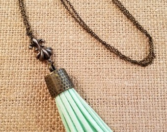Long Leather Tassel Necklace in Mint Green
