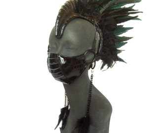 mohawk, mens head piece, Leather Feather Headdress, burning man, shaman, warrior, tribal, fetish:Renegade Icon Designs; Rara Avis Collection