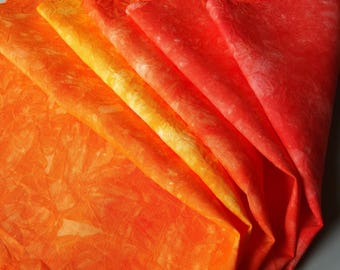 """Red Orange Yellow Embroidery Cloth, Red Hemp Material, Orange Linen Fabric, Kinshasa 14"""" by 18"""""""